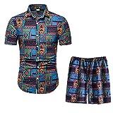 Conjunto de manga corta para hombre Chándal floral hawaiano camisa y pantalones cortos traje de 2 piezas Conjunto de deporte atlético