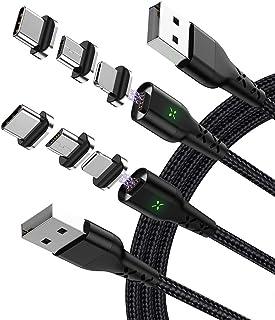 ZRSE(ザスイ) 3in1 充電ケーブル マグネット データ転送 急速充電 Type-C/Micro USB/i-Product/Android タイプc LED付き 磁気吸収データライン ケーブル ナイロン コネクタ脱着 USB-C Pho...
