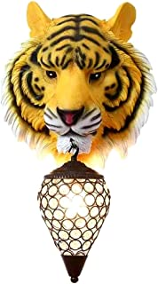 Resin Wall Light, American Creative Tiger Head Wall Lamp Crystal Lampshade for Living Room Background Wall Decoration Ligh...