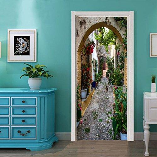 Deursticker, 3D-zelfklevend, fotobehang, deur, mooi uitzicht op de weg, fotobehang, wanddecoratie, wandsticker, afneembaar, voor woonkamer, keuken, slaapkamer, badkamer, decoratie 88x200cm