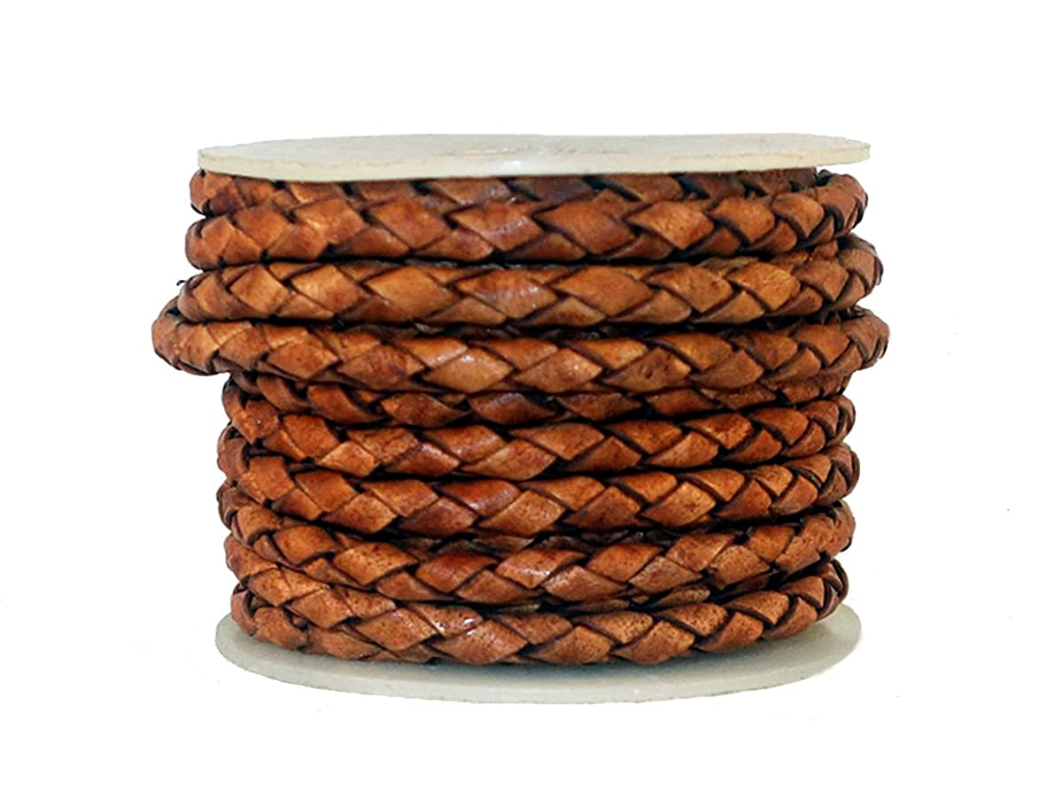 cords craft 4.0m 4 Ply Round Braided Genuine Leather Cord, Brown Color, Hand Braided, 5.46 Yards = 5 Meters