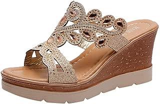 YOcheerful Ladies Bohemian Shoes Crystal Wedges Thick Peep Toe Sandals Slippers Elegant Sandals