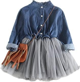 Beide Girl Dress One Piece Tulle Tutu Princess Dress Long Sleeve Shirt Dress