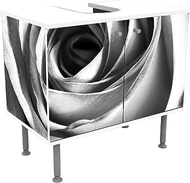 wandmotiv24 Mueble de baño Rosa Blanca - Flor Pegado Frontal y Lateral Lavabo, Mueble Lavabo M0233