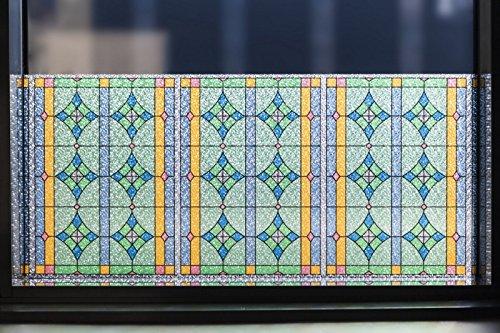 Fensterfolie Sichtschutz statisch haftend, bunte Glasfolie Abbey im Kirchenfenster Look, Meterware