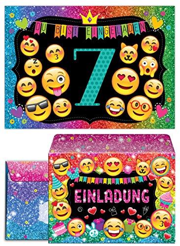 JuNa-Experten 12 Einladungskarten incl. 12 Umschläge zum 7. Kindergeburtstag für Mädchen / Einladung siebte Geburtstag / Einladungen zum Geburtstag / Kartenset für Kindergeburtstag / Glitzer