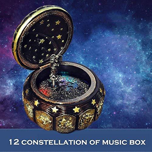 Children's verhaal speler Music Boxes 12 Constellation Music Box Led Flashing Lights speeldozen for Liefde van de Jongen Girls Gift van de Verjaardag (Kleur: Weegschaal, Grootte: Gratis)