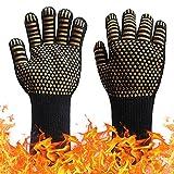 ZAPZEAL Grillhandschuhe BBQ Handschuhe Hitzebeständig bis 800℃, Ofenhandschuhe für Grill Kochen Backen Neuheit BBQ Zubehör (#7 Gold, 1 Paar)