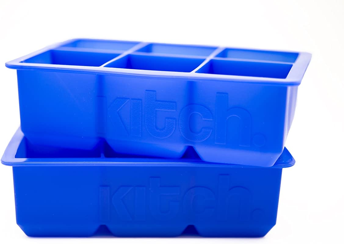 Large Cube Silicone Ice Tray 2 Pack By Kitch Giant 2 Inch Ice Cubes Keep Your Drink Cooled For Hours Cobalt Blue