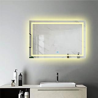 Espejo de Baño LED Luz Cálida(3800k) para Decorar Casa con Función Antivaho + Botón Táctil