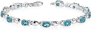 London Blue Topaz Bracelet Sterling Silver Rhodium Nickel Finish 5.50 Carats Classic Design