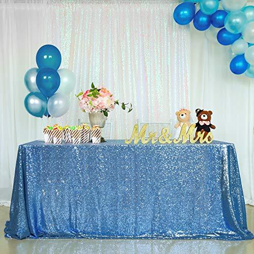 "QueenDream - Runner da tavola con Lustrini argentati, per Feste di Matrimonio, 35,6 x 203,2 cm, Blue, 90""x132"""