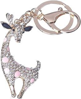 Girl's Deer Keychain Gold Plated Bag Charm Cute Car Key Ring Crystal Purse Pendant #51614