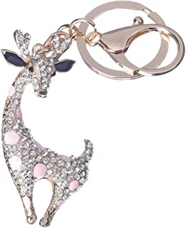 Girl's Deer Keychain Gold Plated Bag Charm Cute Car Key Ring Crystal Purse Pendant #51614