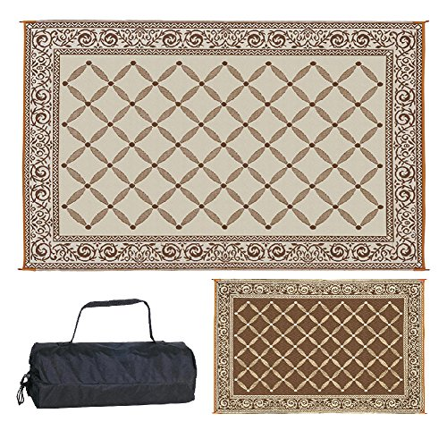 Reversible Mats 6-Feet x 9-Feet Outdoor Patio/RV Camping Garden Mat - Brown/Beige