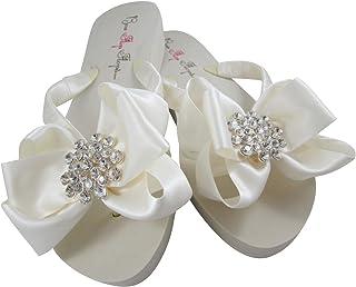 "Bow Flip Flops Jeweled Satin Ivory, Low 1.25"", Flat Heel, Wedding Bridal or Formal Sandals"