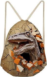 Mochila para deportes al aire libre con cordón, diseño de dinosaurios