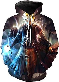 CHENMA Men Naruto 3D Print Pullover Hoodie Sweatshirt with Kangaroo Pocket