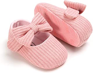 Baby Girls Mary Jane Flats with Bowknot Floral Princess Wedding Dress Shoes Soft Newborn Infant Crib First Walker Prewalker