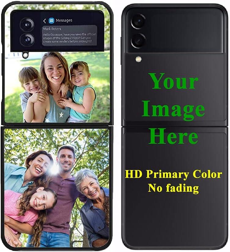 Custom Samsung Galaxy Z Flip 3 5G Cases Customized Personalized Photo, Personalized Photo Gift for Birthday Valentines Best Friends Her and Him Anti-Scratch Shock-Resistant Hard Matte Protective