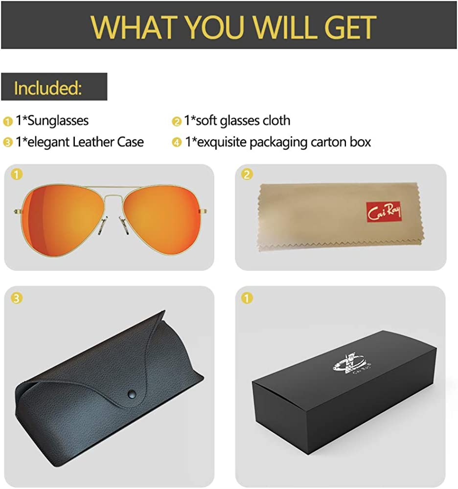 Cai Ray Sunglasses for Men Women Aviator Polarized Metal Mirror UV 400 Lens Protection Pilot sunglasses