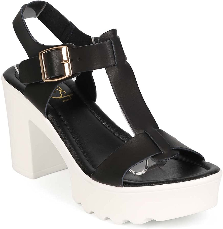 Refresh EE12 Women Leatherette Open Toe T-Strap Low Block Heel Sandal - Black