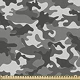 ABAKUHAUS Camuflaje Tela por Metro, Grey Tonalidades, Decorativa para Tapicería y Textiles del Hogar, 1M (148x100cm), Gris Coco