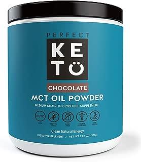 Perfect Keto MCT Oil Powder: Ketosis Supplement (Medium Chain Triglycerides, Coconuts) for Ketone Energy. Paleo Natural Non Dairy Ketogenic Keto Coffee Creamer (Chocolate)