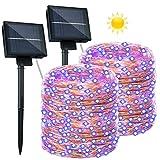 2 Guirnaldas Luces Exterior Solar - 26M 240 LED Cadena de Luces Impermeable IP65 8 Modos Guirnaldas de Luz Decorativas...