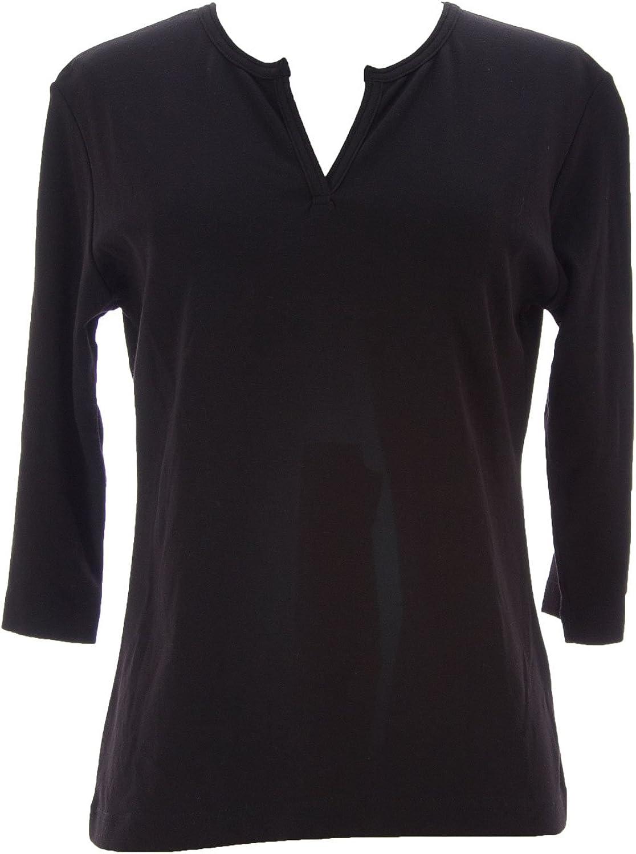 Joan Vass Women's Slit Neck 3 4 Sleeve Top 0 Beige Quilt