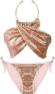 7679fc9711 AiSi Paillettes Blingbling Bikini Licou Bandage Bandeau Push-up Triangle  String Maillot de Bain Femme