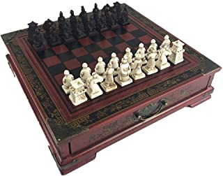 Kylinnqqaz Classic Game Collection Metal Chess Set with Deluxe Wood Board and Storage, Three-Dimensional Character Chess