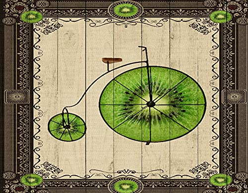 DIY Paint by Numbers for Kids & Beginner & Adults,Antique Frame Fruit Wheel and Kiwi Abstract Retro Bike,Gift Oil Painting Supplies Kit Set Canvas Art Home Decor, 20 x 16inch