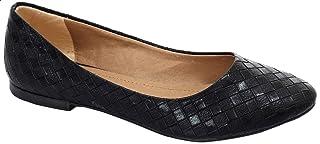 حذاء باليرينا جلد لامع بطرف مدبب للنساء من جرينتا