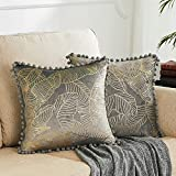 GIGIZAZA Decorative Throw Pillow Covers 20x20, Grey Gold Pom Pom Velvet Leaves Pillows, Cushion Covers for Sofa Couch Bed, Set of 2