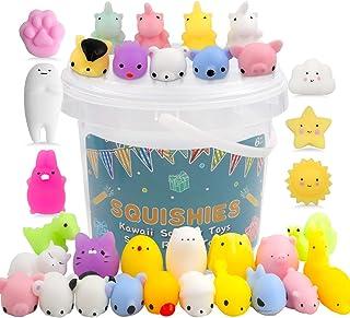 POKONBOY 25 Pack Mochi Squishy Toys Mini Animal Squishies Party Favors for Kids Bulk Mini Kawaii Squishies Mochi Animals S...