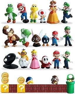 HXDZFX 32 PCS Super Mario Action Figures,Super Mario Bros Figurines Peach Princess,Daisy Princess,Turtle,Mushroom,Orangutan,Coin,Brick,Perfect for Onaments Decoration collectionism