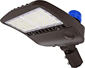 Hykolity LED Parking Lot Lighting with Photocell 150W 19,500Lm 5000K DLC Complied Waterproof Dusk to Dawn Led Shoebox Light Easy Installation Commercial LED Area Light Slip Fitter Mount
