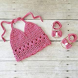 15fa05491 Crochet Halter Top Bow Sandals Shoes Slippers Set Infant Newborn Baby Boho  Chic Spring Summer Accessory
