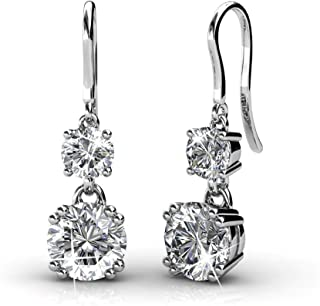 Yellow Chimes Crystals from Swarovski Drop Down Silver Earrings for Girls and Women