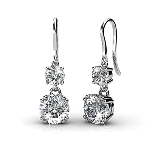 e174553fe Yellow Chimes Crystals from Swarovski Drop Down Silver Earrings for Girls  and Women