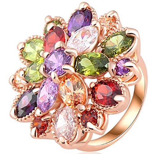 SaySure - Multicolor Flower Engagement Rings (SIZE : 5.5)