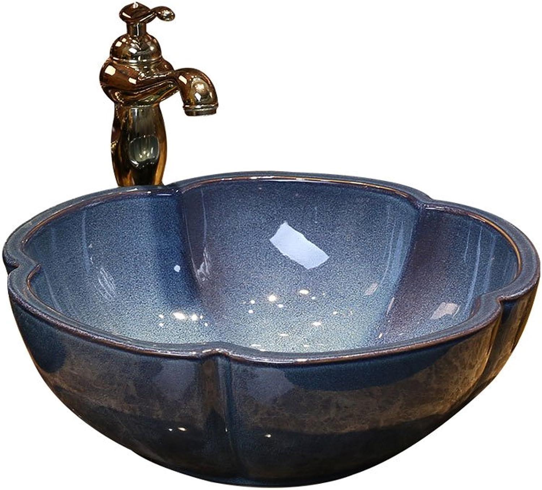Teng Peng- Bathroom Sink Petal Retro Art Above Counter Basin Ceramic Washbasin Simple Antique Washbasin Washbasin, 40x15cm Modern wash basin
