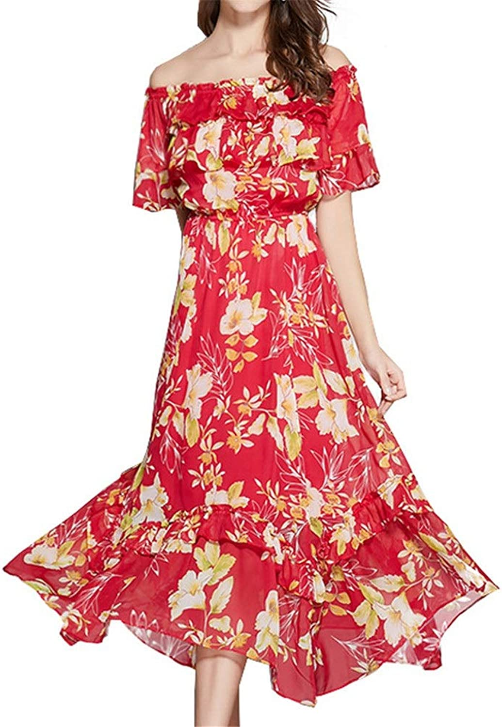 Ladies Summer Loose Casual Dress Women Off Shoulder Short Sleeve Flower Swing Maxi Dress Casual Evening Formal Aline Dress Elegant Cocktail Wedding Party Prom Dress Boho Beach Dress For Summer Shoppi