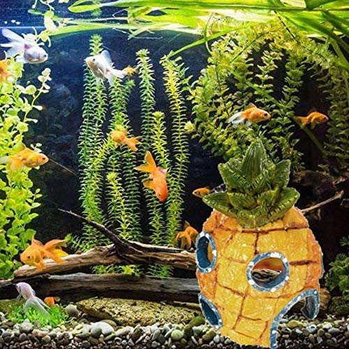 Mcottage 13cm Aquarium Deko Cartoon Harz Ananas Haus Deko