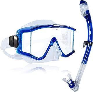 Tilos Panoramic Single Lens Wide View Mask Dry Snorkel Set