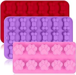 3 moldes de silicona para hielo con forma de hueso y hueso de cachorro, reutilizables