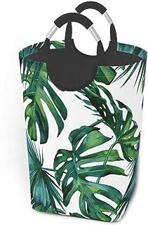 Liumt Panier à Linge Classique Feuilles de Palmier Jungle Tropicale Vert Panier à Linge Panier Seau Pliable vêtements Sale...