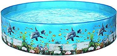 Adaskala Portable Inflation-Free Hard Plastic Swimming Pool Folding Pool Family Swimming Pool Round Swimming Pool for Babies