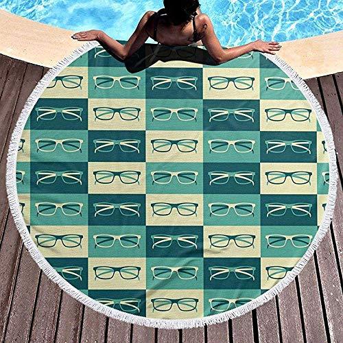 Nazi Mie Brillen im Vintage-Stil Hipster Cool Strandtuch - Große Terry Beach Roundie Circle Picknick Teppich